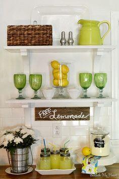 open kitchen shelving combination of fun pitcher jar of lemons and basket - Kitchen Shelves Decorating Ideas
