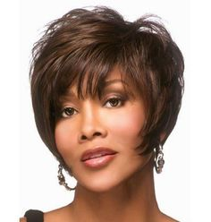 Fashion Fluffy Side Bang Brown Mixed Black Charming Short Straight Synthetic Capless Wig For Women