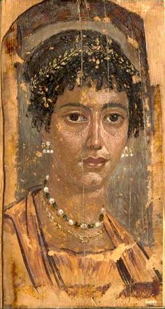 Mummy portrait of a young woman, 75-125 AD Roman-Egyptian; circa 2nd century AD, Fayum (Egypt)