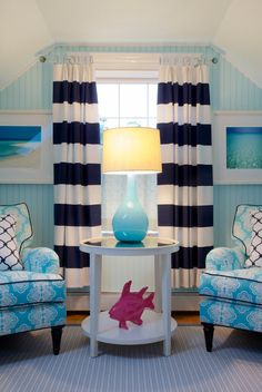 Pinner before:I'm absolutely crazy about the stripes, the turquoise, the lamp, the hot pink, and the symmetry.