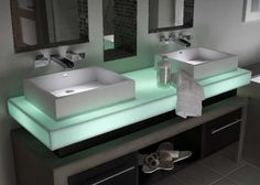 Corian Illuminations Mint Ice vanity countertop.