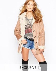 Stitch & Pieces   Stitch & Pieces Vintage Style Coat in Faux Suede at ASOS