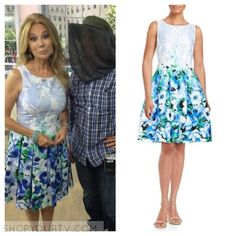 The Today Show: June 2016 Kathy Lee's Blue Floral Fit-and-Flare Dress