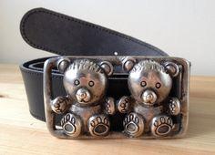 Vintage Teddy Bear buckle black leather belt by Bluetwinklecat