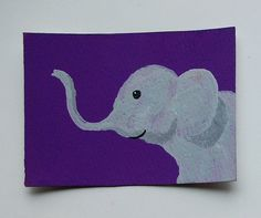 The Purple Elephant 41 ARTIST TRADING CARDS 2.5 x by MikeKrausArt