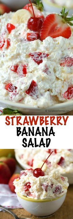 Strawberry Banana Salad is the perfect addition to any party or picnic and it makes an unforgettable snack too. Packed with bananas, pineapple, strawberries and Greek yogurt, this dish is sweet and creamy. While it's easy to make, it is even easier to eat Dessert Aux Fruits, Dessert Salads, Fruit Salad Recipes, Jello Salads, Creamy Fruit Salads, Pineapple Recipes Snacks, Fruit Appetizers, Easy Desserts, Delicious Desserts