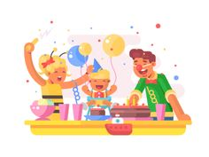 Children birthday party illustration