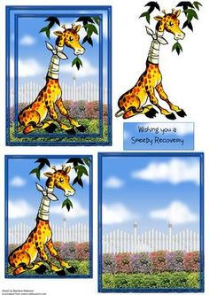 A6 Complete Get Well Giraffe on Craftsuprint designed by Barbara Alderson - step by step decoupage on an A6 card front with matching insert panel - Now available for download!