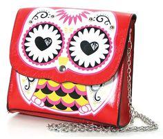 Amazon.com: Owl Sugar Skull Print Vinyl Shoulder Bag: Clothing