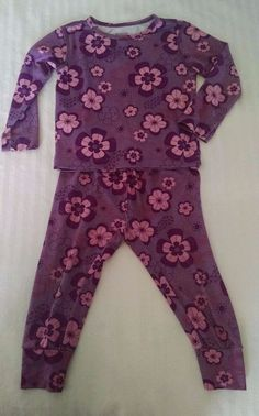 261eb54af REI Tots Baby Girl Base Layer Top Pants 18M Pink Purple Flowers UPF 50+  #REI #Everyday