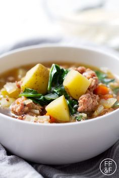 Sausage, Spinach and Potato Soup is a hearty and delicious way to stay warm this winter.