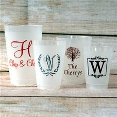 Personalized Frosted Plastic Party Cups From Sip Hip Ay Wedding Monogrammed Customized Send Your Guests Home With A