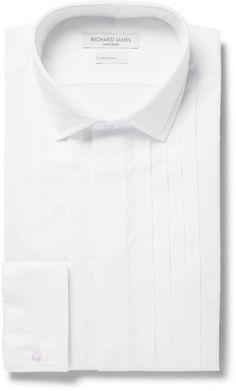 Richard James White Slim-Fit Pleated Cotton Tuxedo Shirt sur shopstyle.fr