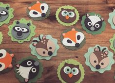 Woodland party theme - cupcake toppers. Woodland creatures including fox, owl, deer, skunk and raccoon. Created by anina
