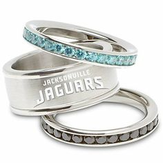 Jacksonville Jaguars Cubic Zirconia Stacked Ring Set NFL Officially Licensed. $114.99