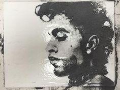 'Prince', Kelly Crosser Alge fused glass powder sgraffito drawing