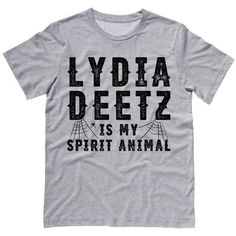 Lydia Deetz is My Spirit Animal (Beetlejuice) T-Shirt ($18) ❤ liked on Polyvore featuring tops, t-shirts, goth tops, animal tees, goth t shirts, gothic tops and gothic t shirts