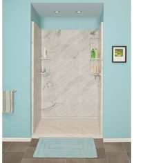 Shop Style Selections White Carrara Solid Surface Wall Solid Surface Floor  4 Piece Alcove Shower Kit (Common: 34 In X 48 In; Actual: 83 In X At  Lowes.com