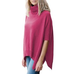 Parisbonbon Womens 100 Cashmere Pullover style Poncho Color Pink Size M *** BEST VALUE BUY on Amazon #PulloverSweaters Fall Sweaters For Women, Pullover Sweaters, Cashmere, Tunic Tops, Amazon, Pink, Stuff To Buy, Color, Dresses