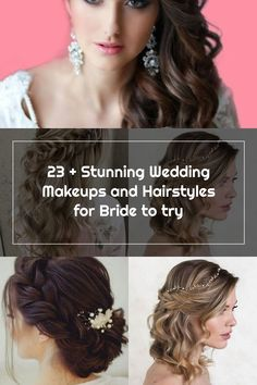 23 + Stunning Wedding Makeups and Hairstyles for Bride to try 21 #weddinghairstyles #weddingmakeup Wedding Hair Side, Wedding Make Up, Bride Hairstyles, 21st, Hair Styles, Makeup, Hairstyles For Brides, Hair Plait Styles, Make Up