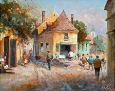 Mág Tamás: Séta a kisvárosban - Vándorfény Galéria Painting, Painting Art, Paintings, Painted Canvas, Drawings