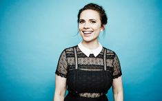 Download wallpapers Hayley Atwell, portrait, smile, black dress, english actress