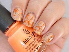 Orange splatter on nude nail art by Michelle - Nailpolis: Museum of Nail Art China Nails, Water Marble Nails, Orange Nails, Nude Nails, Nail Inspo, You Nailed It, Nail Designs, Nail Polish, Nail Art