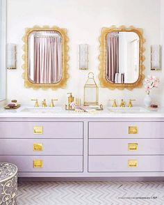 Lilac bathroom cabinets