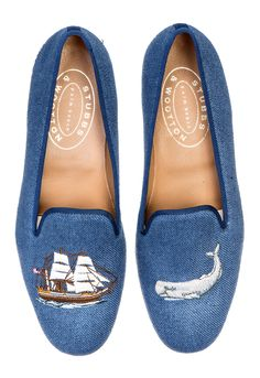 "Whaling Lapis is an airy blue linen slipper with navy grosgrain trim. Meticulously hand-crafted in Spain. Leather lined to provide additional support and comfort. The stacked wooden heel is ¾"" in height. Leather soled. True to American sizing."