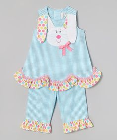 Rare Editions Turquoise Bunny Seersucker Tank & Pants - Infant, Toddler & Girls | zulily