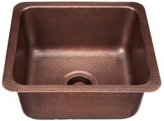 ECOSINKSECOSINKS Dual Mount Hammered Antique Copper 17x15x8 0-Hole Bar/Prep SinkAntique Copper
