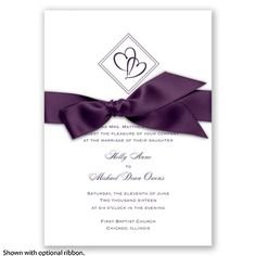 Diamond Hearts - Plum - Invitation