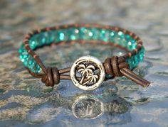 Aqua Bohemian beaded leather wrap bracelet with palm tree button