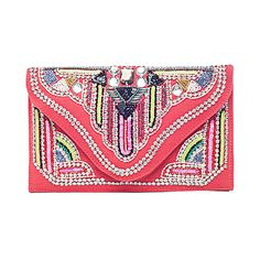 Coral Beaded Clutch