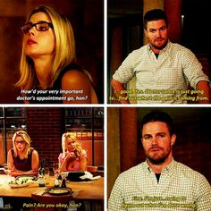"""""""I'm just... trying to figure out what I've done wrong"""" - Oliver, Donna & Felicity #Arrow"""
