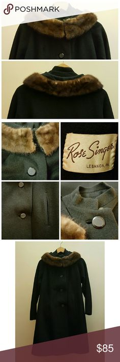 "Vintage Mod Fur Collar Wool Coat Vintage Mod Fur Collar Wool Coat. Excellent vintage condition. Fur Collar has been sewn on, can be removed. Slant front pockets, four large textured button detail closure, double eyehook at neck, extra  plastic button top of neck and fully lined. Rose Singer clothing store in Lebanon, PA. 19"" bust, 39"" L top shoulder / seam of collar to bottom hem,  26.5"" underarm to bottom hem, 18"" armpit to sleeve cuff (slight dolman sleeve), 14.5"" neck (when buttoned)…"