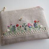 刺繡のフラットポーチ(ミニガーデン)ヘリンボーン