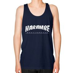 HARAMBE WHITE LOGO Unisex Fine Jersey Tank (on man)