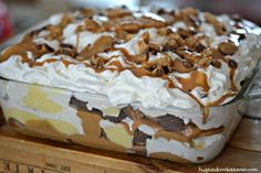 Ingredients 1 box Nutter Butter Cookies Cool Whip or whip your own fresh whipped cream (1 cup cream plus a drop of sugar for sweetness) peanut butter cups ½ cup peanut butter, melted in microwave 1...
