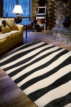 Wide Stripe Indoor/Outdoor Rug - Black on HauteLook