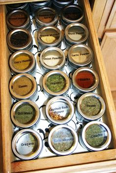 Organized spice drawer -- This is way better then spices in the cupboard. I am loving these jars, this is far better than what I had before. I look forward to using the spices, they are so easy to use and find now. Kitchen Pantry, Kitchen Storage, Kitchen Decor, Kitchen Ideas, Kitchen Tools, Kitchen Cabinets, Interior Design Kitchen, Interior Design Living Room, Spice Drawer