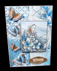 Cardtopper with matching envelope ice christmas 702 on Craftsuprint designed by Gertraud Lueckel - made by Diane Hitchcox - I printed out onto 200 gram card ,mounted on a A5 card ,decoupaged using sticky pads ,then attached insert. - Now available for download!