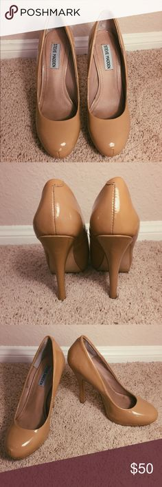 Steve Madden nude patent pumps Steve Madden Traisie nude patent leather pumps. Very versatile, they go with everything! Size 7.5M. Some wear on the bottom, and on the right toe. Other than that they're in good shape. Heel is 4.5 in Steve Madden Shoes Heels