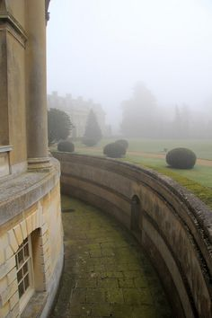 Rotunda, Ickworth Park, a country house in the mist.