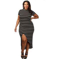 Plus Size Black White Stripe Maxi Dress LAVELIQ