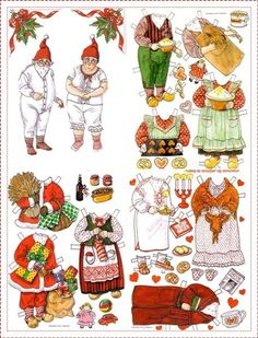 Father and Mother Christmas Vintage Paper Dolls printables