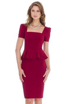 Wine Square Neck Peplum  Stretch Midi Length Dress. Can be Dressed up for a Party or worn for Smart Work Wear