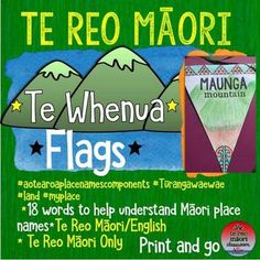 """""""Te Whenua"""" are a collection of 18 landform or whenua flags, in both te reo Māori/English and te reo Māori only. These words are components of many of our Aotearoa/New Zealand place names. Flags, banners, ensigns, haki, maitairangi, kara call them what you like, they are popular."""