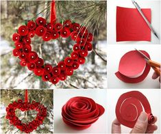 Looking for an inexpensive way to decorate your home for Valentine's Day? Red roses and hearts are symbols of Valentine's day, so this heart shaped paper rose wreath will just do that! There are many creative ways to make paper flowers… Diy Valentines Day Wreath, Valentines Day Decorations, Valentine Day Crafts, San Valentin Ideas, Saint Valentin Diy, Decoration St Valentin, Valentine Heart, Cadeau St Valentin, Diy Gifts