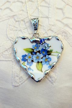 Broken China Jewelry, China Heart Pendant Necklace, Forget Me Not Blue Flowers…